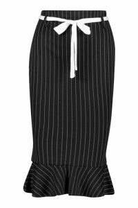 Womens Pinstripe Pencil Skirt With Sash Belt - black - 14, Black