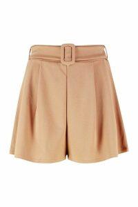Womens Belted Flippy Shorts - beige - 16, Beige