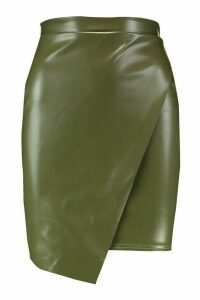 Womens Wrap Front Leather Look Mini Skirt - green - 16, Green