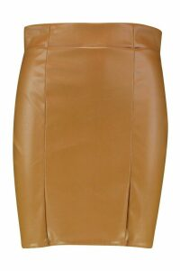 Womens Leather Look Seam Front Mini Skirt - beige - 6, Beige