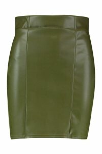Womens Leather Look Seam Front Mini Skirt - green - 16, Green