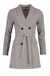 Womens Dog Tooth Check Double Breasted Belted Blazer Dress - grey - 14, Grey
