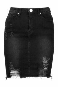 Womens Power Stretch Distressed Denim Skirt - black - 6, Black