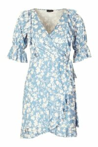 Womens Recycled Floral Print Ruffle Wrap Tea Dress - blue - 20, Blue