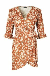 Womens Recycled Floral Print Ruffle Wrap Tea Dress - brown - 20, Brown