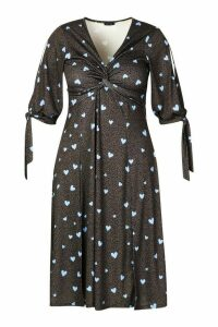 Womens Recycled Polka Dot Twist Front Midi Dress - black - 24, Black