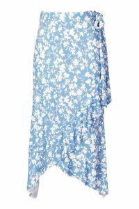 Womens Recycled Floral Print Ruffle Wrap Midi Skirt - blue - 16, Blue