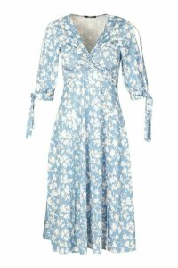 Womens Recycled Floral Print Twist Front Midi Dress - blue - 20, Blue