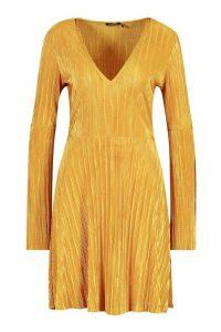 Womens Pleated V Neck Frill Hem Skater Dress - yellow - 14, Yellow