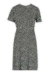 Womens Dalmation Curved Waist Skater Dress - black - 14, Black