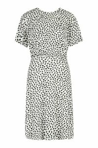Womens Dalmation Curved Waist Skater Dress - white - 10, White