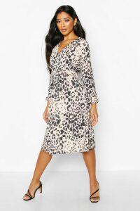 Womens Leopard Wrap Midi Dress - brown - 12, Brown