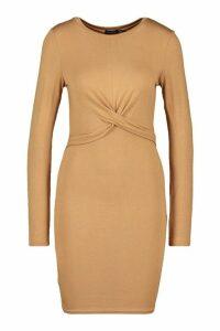 Womens Twist Detail Jersey Dress - beige - 14, Beige