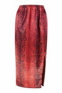 Womens Satin Snake Split Side Midi Skirt - red - 16, Red