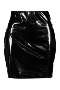 Womens Vinyl Mini Skirt - black - 16, Black