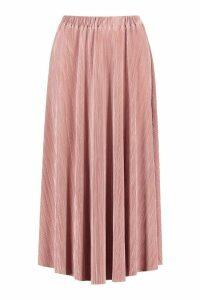 Womens Plisse Midi Skater Skirt - pink - 14, Pink
