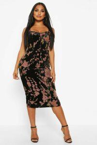 Womens Devoure Floral Hook & Eye Midi Dress - black - 14, Black