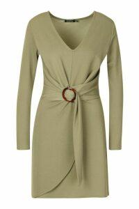 Womens O Ring Wrap Tailored Mini Dress - green - 12, Green