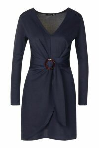 Womens O Ring Wrap Tailored Mini Dress - navy - 12, Navy