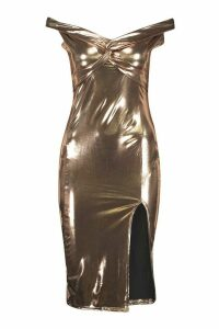 Womens Off the Shoulder Twist Midi Dress - metallics - 16, Metallics