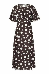 Womens Polka Dot Split Front Flare Sleeve Midi Dress - black - 14, Black