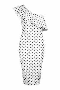 Womens One Shoulder Ruffle Polka Dot Midi Dress - white - 14, White