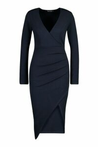Womens Ruched Side Wrap Over Tailored Midi Dress - navy - 14, Navy