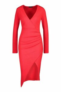 Womens Ruched Side Wrap Over Tailored Midi Dress - 12, Red