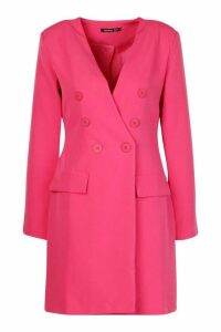 Womens Collarless Double Breasted Blazer Dress - pink - 14, Pink