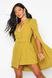 Womens Belted Cape Detail Blazer Dress - yellow - 10, Yellow