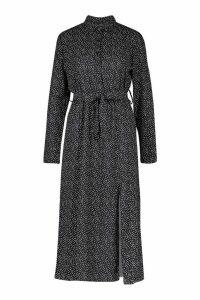 Womens Polka Dot Midi Belted Shirt Dress - black - 14, Black