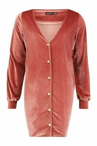 Womens Balloon Sleeve Pearl Button Shift Dress - pink - 14, Pink