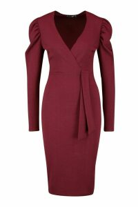 Womens Wrap Ruched Sleeve Bow Detail Midi Dress - red - 8, Red