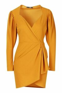 Womens Wrap Over Drape Detail Mini Dress - yellow - 10, Yellow