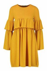 Womens Rib Ruffle Detail Long Sleeve Smock Dress - yellow - 12, Yellow