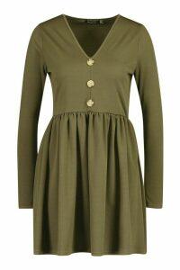 Womens Long Sleeve Button Detail Smock Dress - green - 12, Green