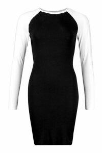 Womens Contrast Sleeve Jersey Bodycon Dress - black - 14, Black