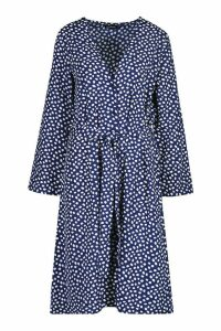 Womens Spot Button Front Belted Maxi Dress - navy - 14, Navy