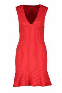 Womens Jumbo Rib Plunge Frill Hem Dress - red - 16, Red