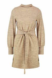 Womens Brushed Belted Shift Dress - beige - 16, Beige