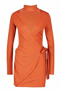 Womens Tie Side Rib Mini Dress - orange - 14, Orange