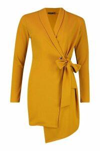 Womens Belted Waist Blazer Dress - yellow - 10, Yellow