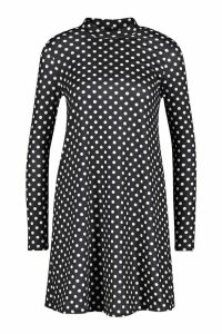 Womens Polka Dot High Neck Jersey Swing Dress - black - 14, Black