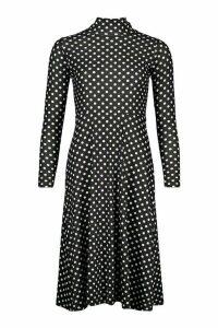 Womens Polka Dot High Neck Jersey Midi Dress - black - 14, Black