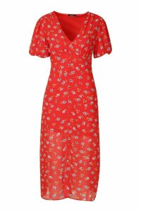 Womens Floral Button Front Plunge Midi Dress - blue - 14, Blue