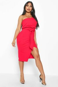 Womens One Shoulder Batwing Midi Dress - red - 12, Red