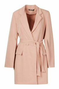 Womens Split Sleeve Double Breasted Belted Blazer Dress - pink - 14, Pink