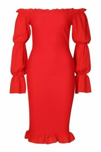 Womens Shirred Bodycon Dress With Tiered Sleeves - 12, Red