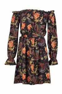 Womens Bardot Tie Waist Dress With Bell Sleeves - orange - 12, Orange