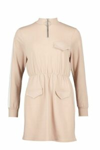 Womens Utility Pocket O Ring Zip Through Sweat Dress - beige - 10, Beige
